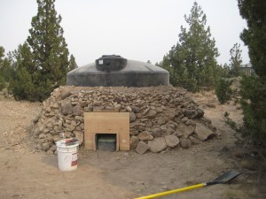 The new cistern and its natural insulation.